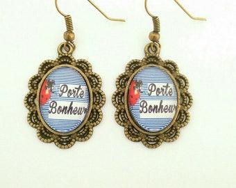 """""""Lucky"""" bronze earrings"""