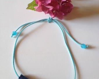 Necklace made of jeans / denim and white beads