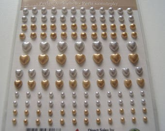 130 HALF STICKERS PEARLY BEADS SILVER AND GOLD