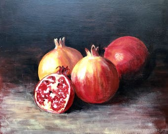 Original painting, acrylic, still life pomegranates
