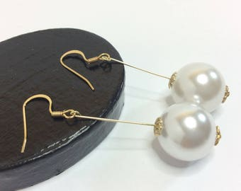 Pearl Drop Earrings Gold, Pearl Bead Earrings, Dangle Earrings, Dainty Earring, Gift For Her