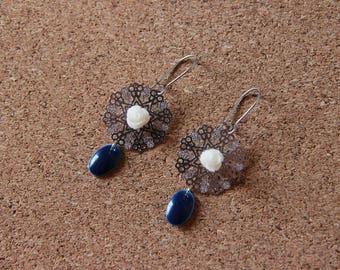 Earrings • rose • silver / white / blue
