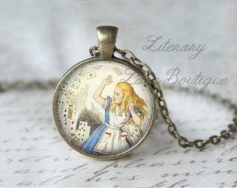 Alice in Wonderland, 'You're Nothing But A Pack Of Cards' Alice Illustration, Lewis Carroll Necklace or Keyring, Keychain.