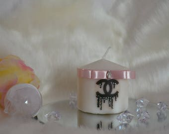 Candle, Chanel logo - old pink