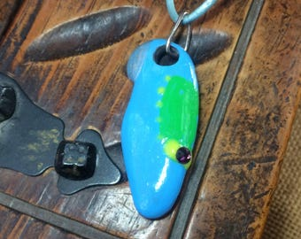 Blue shoe - hand painted sea stone pendant with Swarovski crystal and Sterling Silver connector