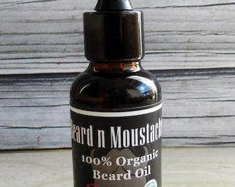 Beard n Moustache Organic Beard Oil - 1oz / 30ml, Birthday Gift, Birthday Gift for Men, Gift for Him, Gift Idea for men, Birthday Gift ideas
