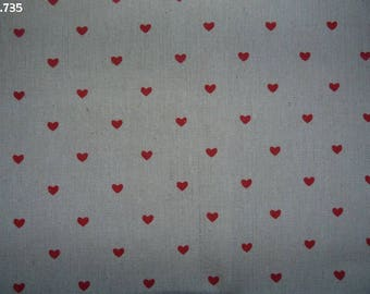 Fabric C735 little red hearts on background coupon 35x50cm