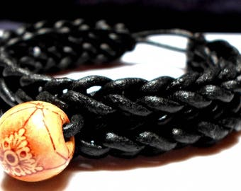 Leather Bracelet with wooden bead
