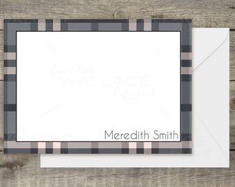 Pink Plaid Personal Stationery