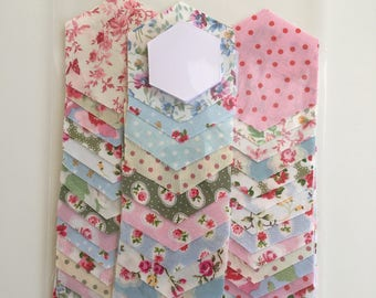 Patchwork Fabric Hexagons and papers for English Paper Piecing, Grandmothers Flower Garden Quilt