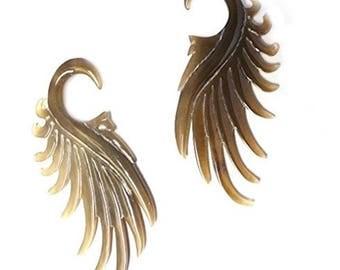 Buffalo Horn Handmade Dragon Wing 6g (4mm)plug/gauge (2 Pieces) (Dragon Wing 6G (4mm)) …
