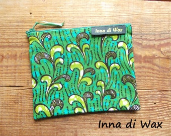 Pouch bag in wax fabric African 08015