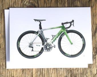 Cycling Card, Mark Cavendish, Road Bike Card, Tour De France, Cervelo S5, Bike Illustration