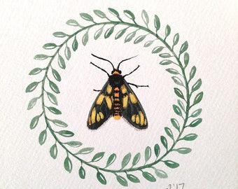 Tiger moth, original art, gouache painting, biology specimen, natural history, museum collection, woodland wall art decor, folk art
