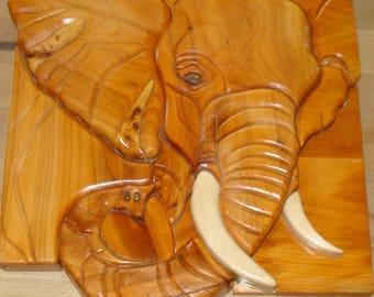 head intarsia elephant wood