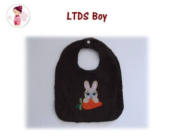 BOY BUNNY COTTON AND TERRY BIB