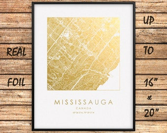 """Mississauga City 16""""x20"""" Map Gold Print, Real Gold Foil Print, Mississauga City Map Poster, Mississauga Square Map, Canada, GoldenGraphy"""