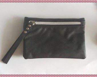 Coin purse black faux leather