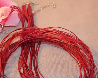 red waxed cord and organza Ribbon necklace