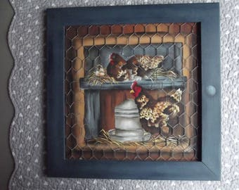 Painting framed wood: acrylic hens behind true trompe l'oeil style wire