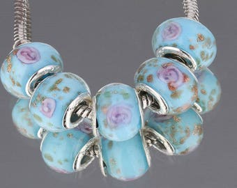 Blue artisan glass bead, bead caps Silver 925 bead type European (25G)
