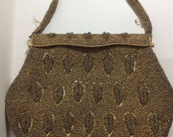 Vintage Gold Leaf Beaded Evening Hand Bag, Small Purse, Mid Century, Satin Lining