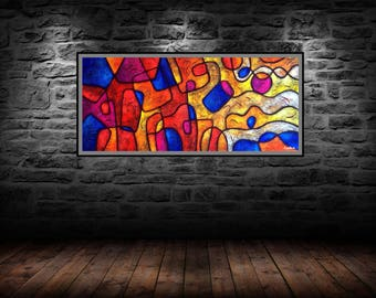 Abstract Horizon Original Painting on Carved Wood by Luis David