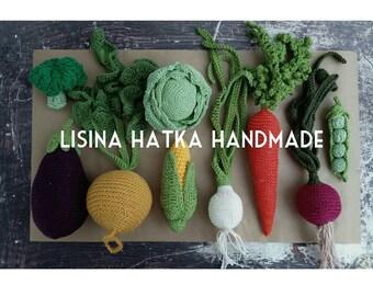 Set of crochet vegetables