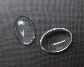 Clear glass 25 X 18 mm oval cabochon