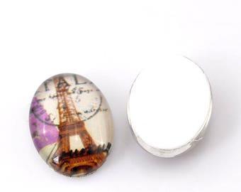 Glass Eiffel Tower 18 X 13 mm oval cabochon
