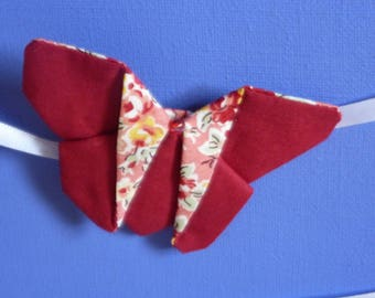 Floral Burgundy and salmon Butterfly Alligator Clip