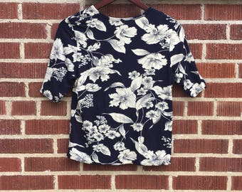Floral Blue and White T-Shirt