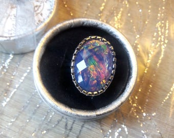 Iridescent blue Adjustable ring (11)