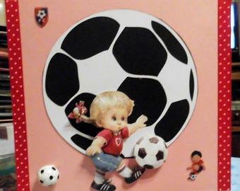 3D card Morehead girl on football cut