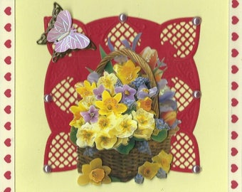 on red cut spring flowers 3D card