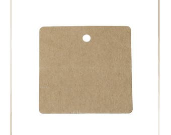 Set of 10 square, Brown, 6 x 6 cm, thickness 0.5 mm