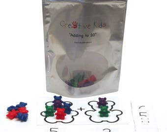 Creative Kids Educational Learning Bags, Adding to 20, adding with bears, fun addition, add, learning, educational, math, early learners