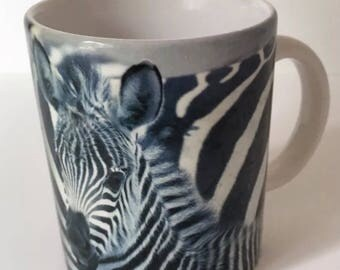National Wildlife Federation Zebra Coffee Mug, Vintage Cup, 1993, Grevy's Zebra, Tea Mug