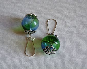 BLOWN GLASS SPHERE EARRINGS GREEN AND BLUE