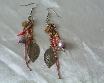Your peach earrings and metal leaf