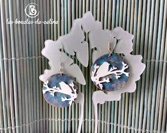 Earrings: Bird on a branch