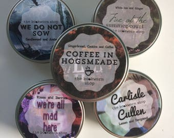 3 oz bookish tin-candle, Carlisle Cullen (twilight), we do not reading (Greyjoy, GoT), Madhatter, FAE of the summer Court