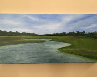 "Original Landscape Oil Painting - ""Clam Creek, Jekyll Island"""