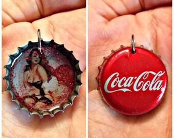 Vintage style CocaCola pin up bottle cap necklace