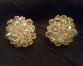 Iridescent beaded cluster round clip earrings