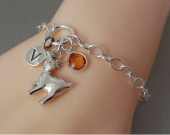 Silver Reindeer Bracelet, Sterling Silver Deer Jewelry, Silver Birthstone Jewelry, Personalized Pet Jewelry, Animal Charm, Gift for Her