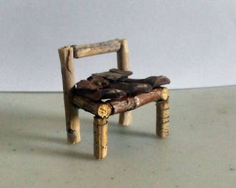 Fairy Miniature Rustic Chair Made With Tree Twigs and Pine Cones