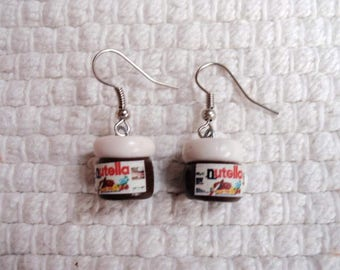 """Jars of Nutella"" earrings in dough Fimo, Earrings"