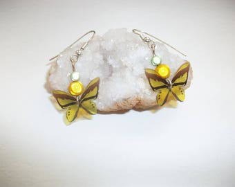 Earrings for children or women. beads and lime green and Yellow Butterfly
