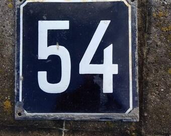 Vintage House Numbers Antique metal enamel 54,  18x18cm. soviet